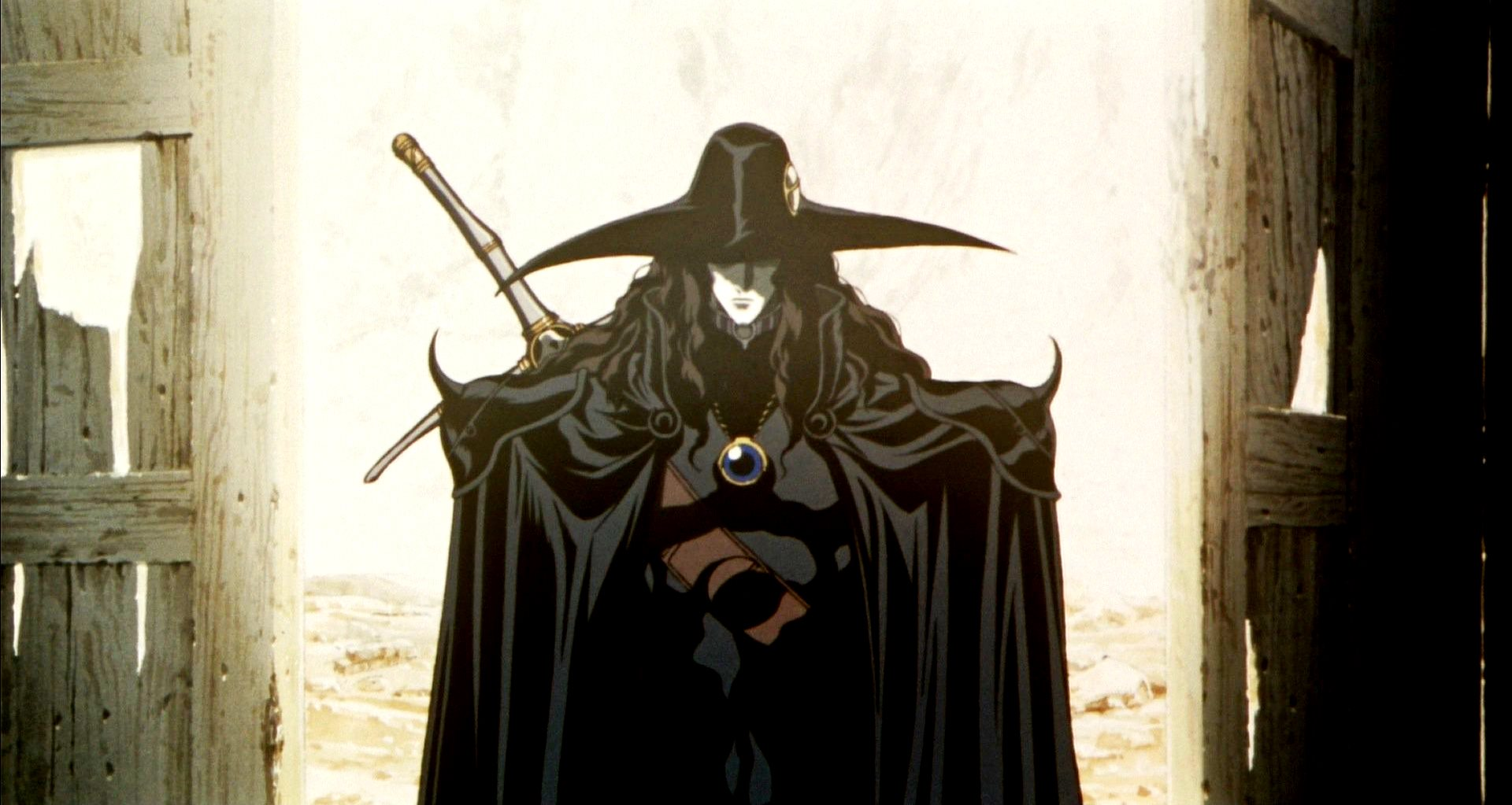 D goes into action hunting vampires in Vampire Hunter D: Bloodlust (2000)