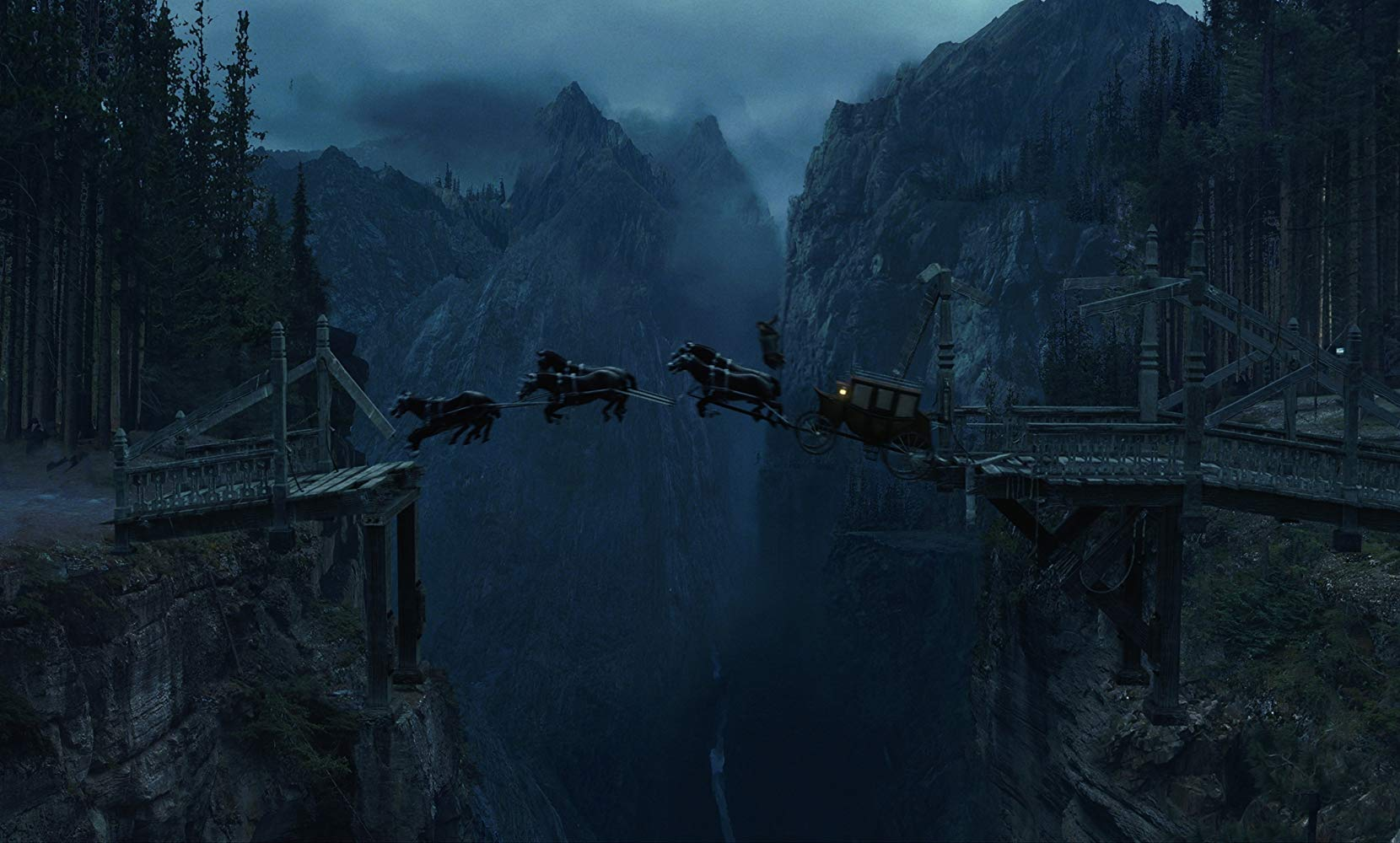 The horse carriage conducts a stunt leap across a ravine in Van Helsing (2004)