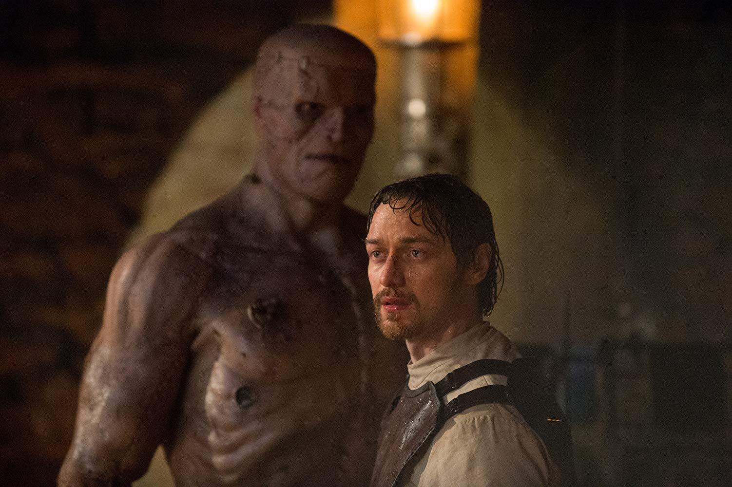 James McAvoy as Victor Frankenstein, along with his monster in Victor Frankenstein (2015)
