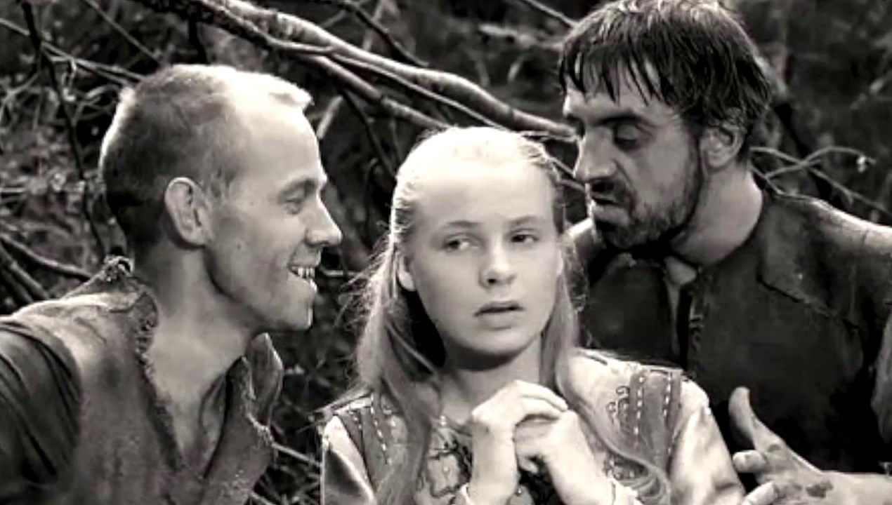 Innocent Birgitta Pettersson (c) is waylaid by goatherds Axel Düberg (l) and Tor Isedal (r) in The Virgin Spring (1959)