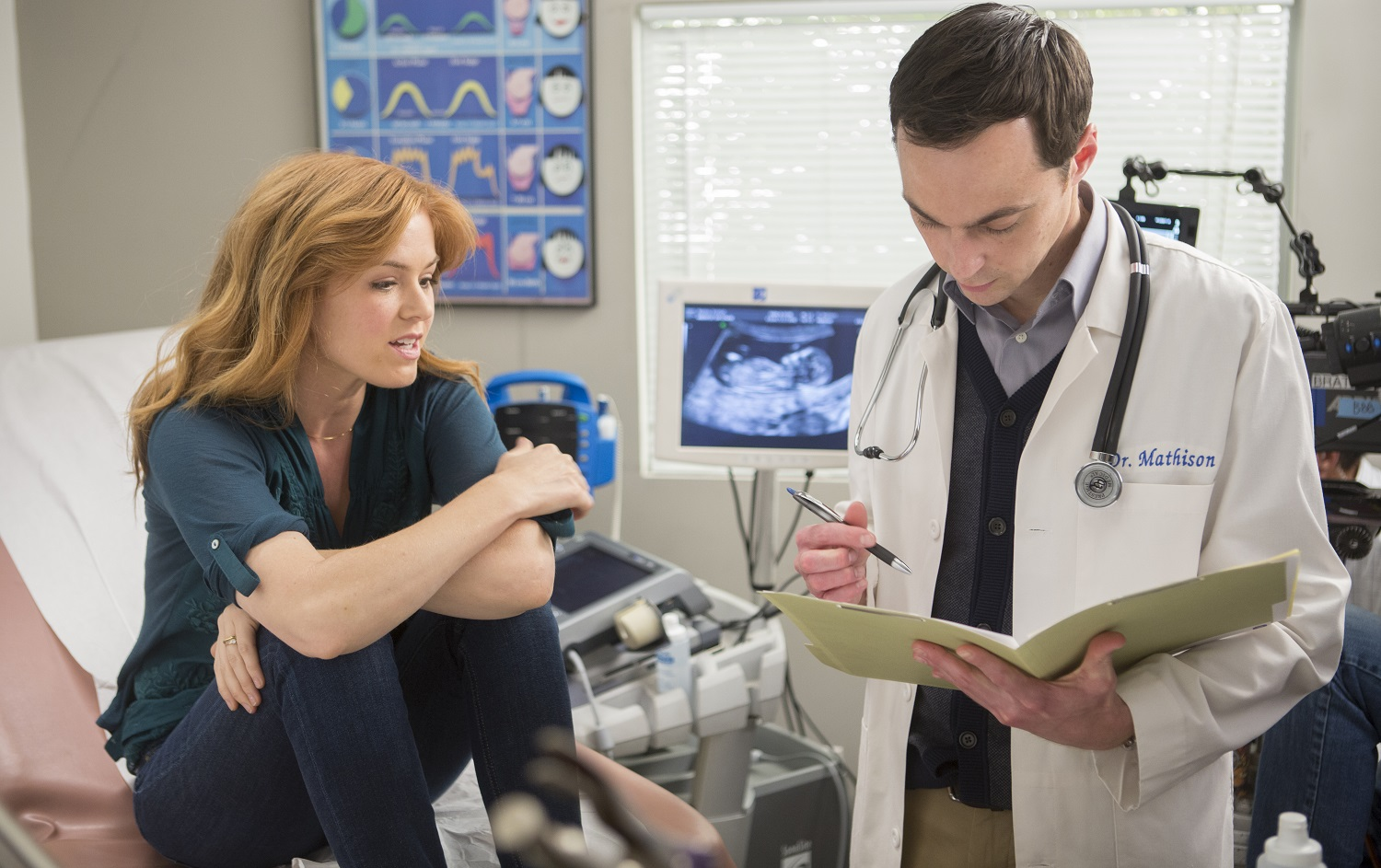 Isla Fisher and her doctor Jim Parsons in Visions (2015)