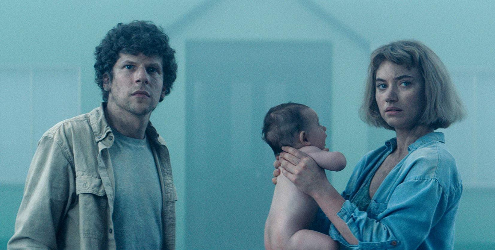 Jesse Eisenberg, Imogen Poots and their baby in Vivarium (2019)