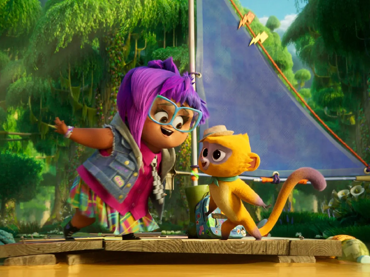 Gabi (Ynairaly Simo) and Vivo and Vivo (Lin-Manuel Miranda) sail through the Everglades in Vivo (2021)
