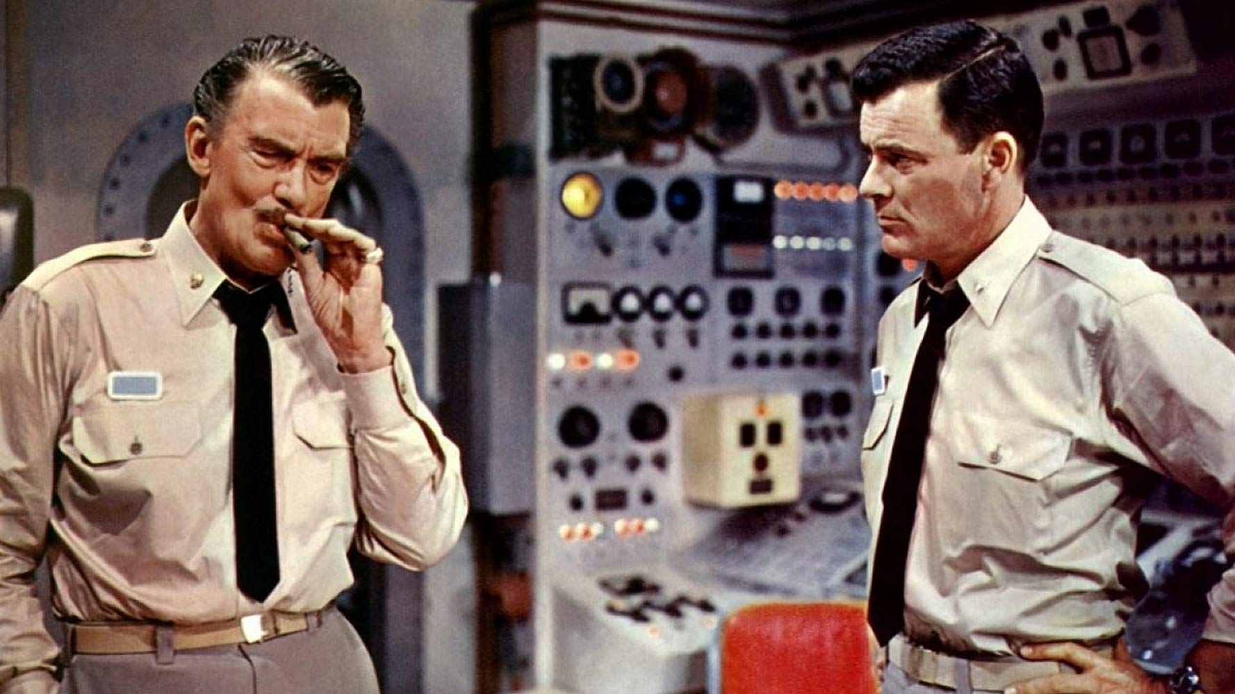 Admiral Harriman Nelson (Walter Pidgeon) and Captain Lee Crane (Robert Sterling) in Voyage to the Bottom of the Sea (1961)