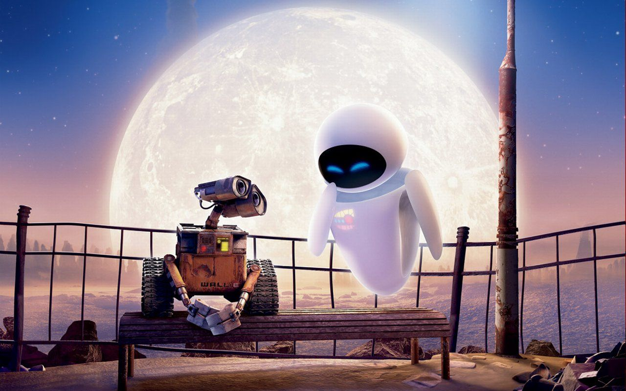Wall-E and his love interest Eve in Wall-E (2008)