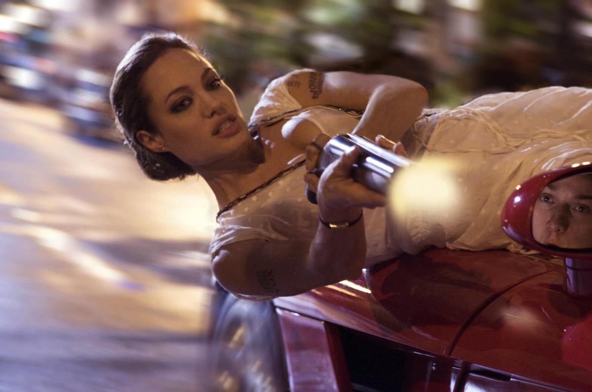 Angelina Jolie in action as Fox in Timur Bekmambetov's way out action scenes in Wanted (2008)