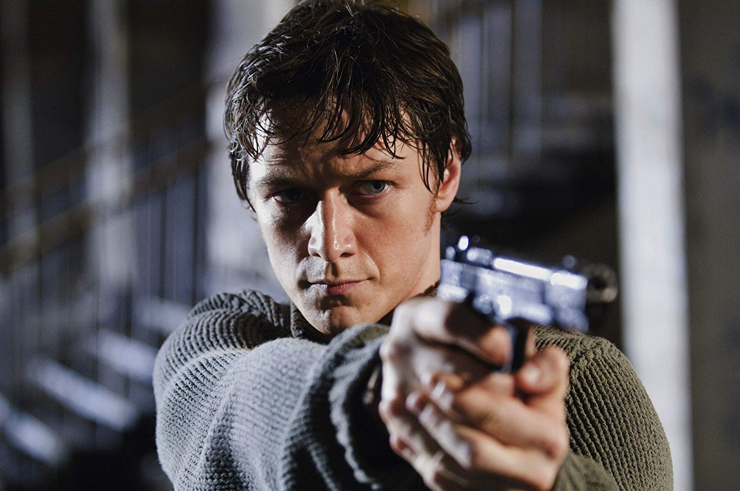 James McAvoy as Wesley Gibson, everyday guy inducted into a secret oganisation of assassins in Wanted (2008)