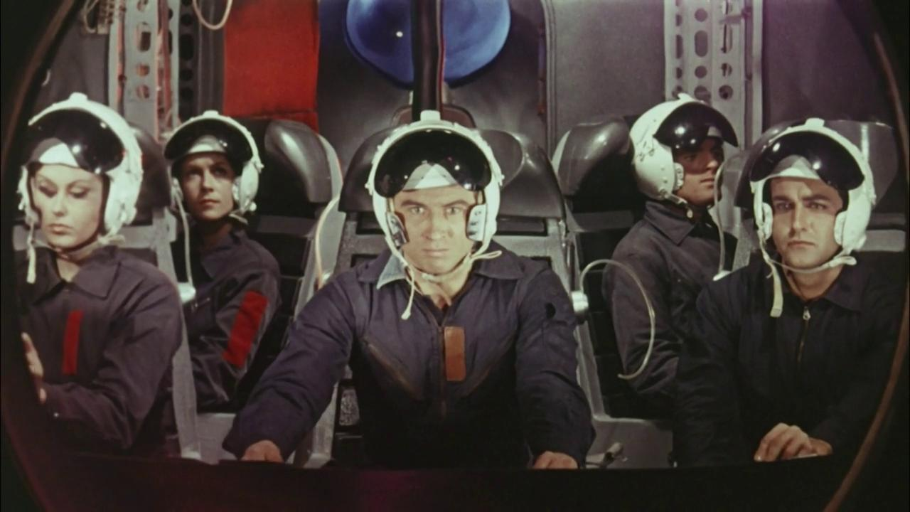 (l to r) Ombretta Colli, Giacomo Rossi Stuart and Pietro Martellanza lead the expedition to the asteroid in War Between the Planets (1966)