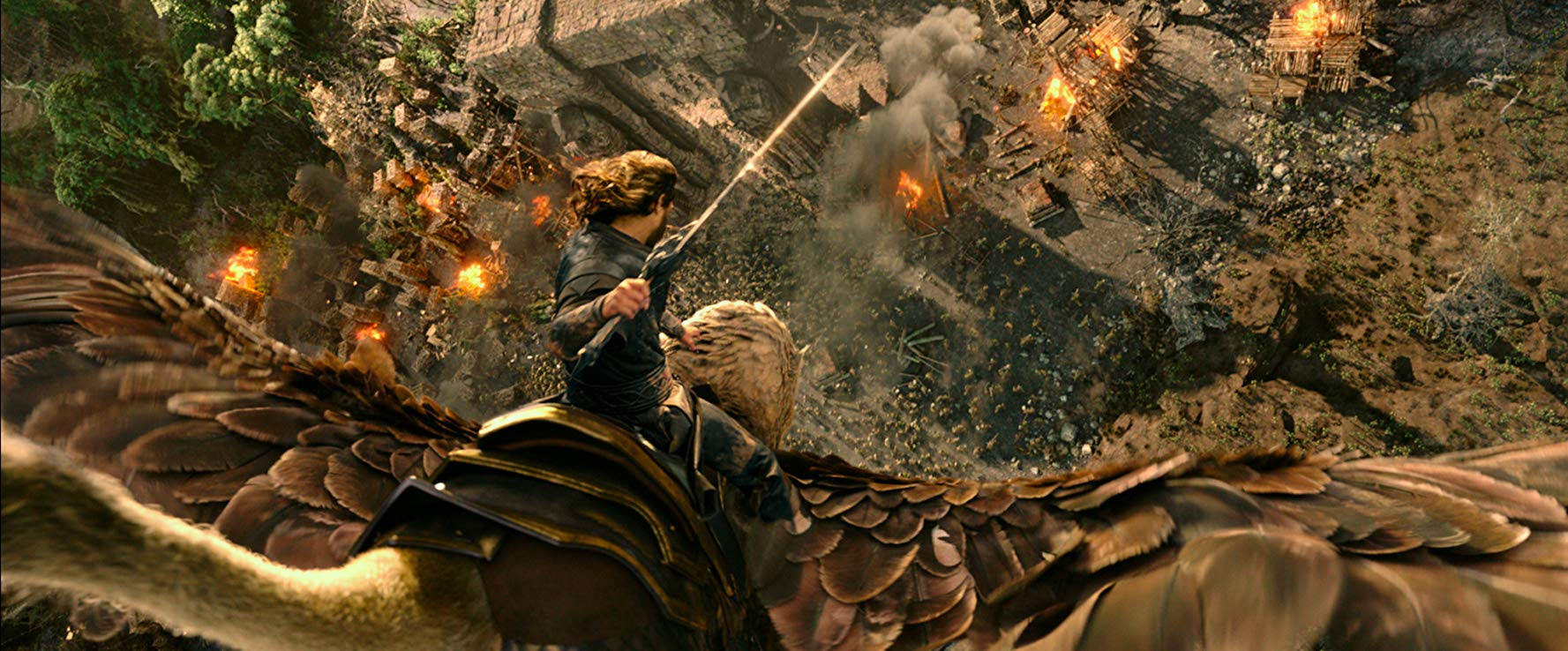 Travis Fimmel flies into action on the back of a gryphon in Warcraft (2016)