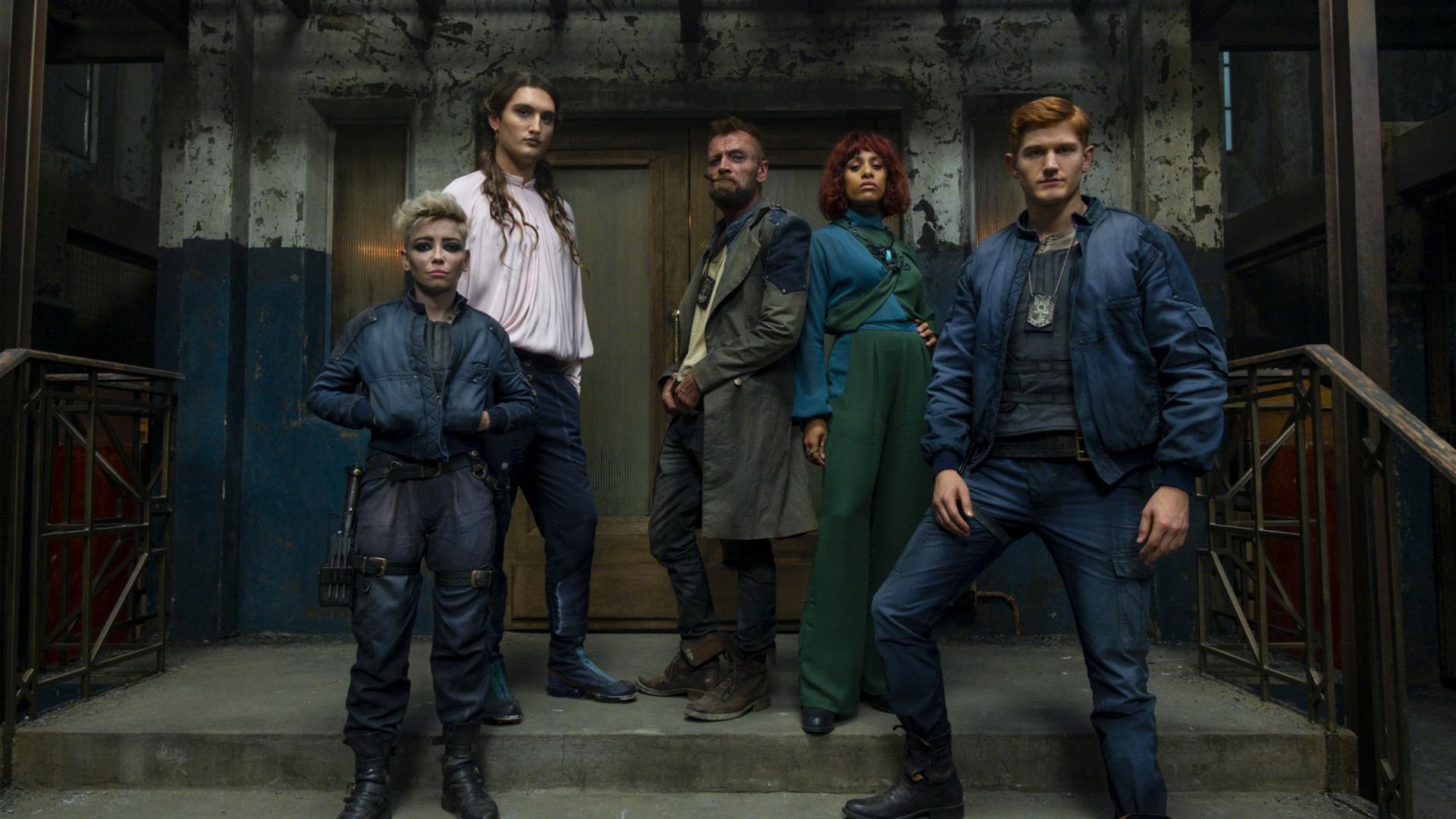 Corporal Angua von Uberwald (Marama Corlett), Corporal Cheery (Jo Eaton-Kent), Captain Sam Vimes (Richard Dormer), Lady Sybil Ramkin (Lara Rossi) and Corporal Carrot Ironfoundersson (Adam Hugill) in The Watch (2020)