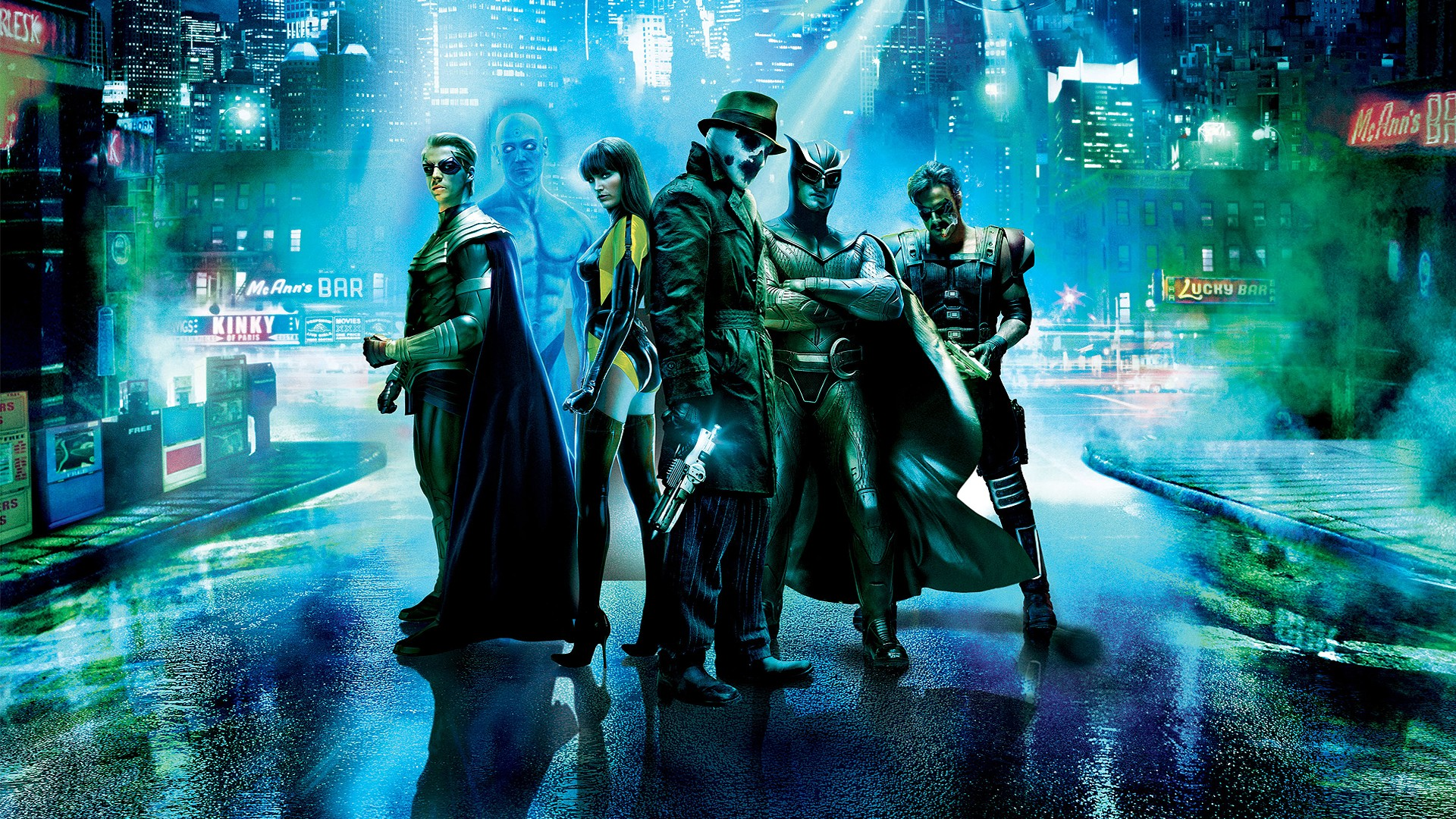 Promotional artwork - Watchmen line-up (l to r) Ozymandias, Dr Manhattan, Silk Spectre, Rorschach, Nite Owl and The Comedian in Watchmen (2009)