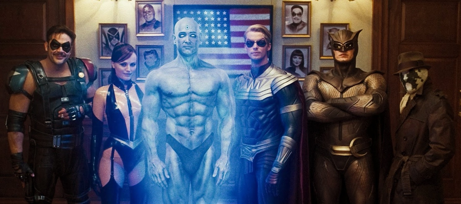 Cast line-up - (l to r) The Comedian (Jeffrey Dean Morgan), Scarlet Spectre (Malin Akerman), Dr Manhattan (Billy Crudup), Ozymandias (Matthew Goode), Nite Owl (Patrick Wilson) and Rorschach (Jackie Earl Haley) in Watchmen (2009)