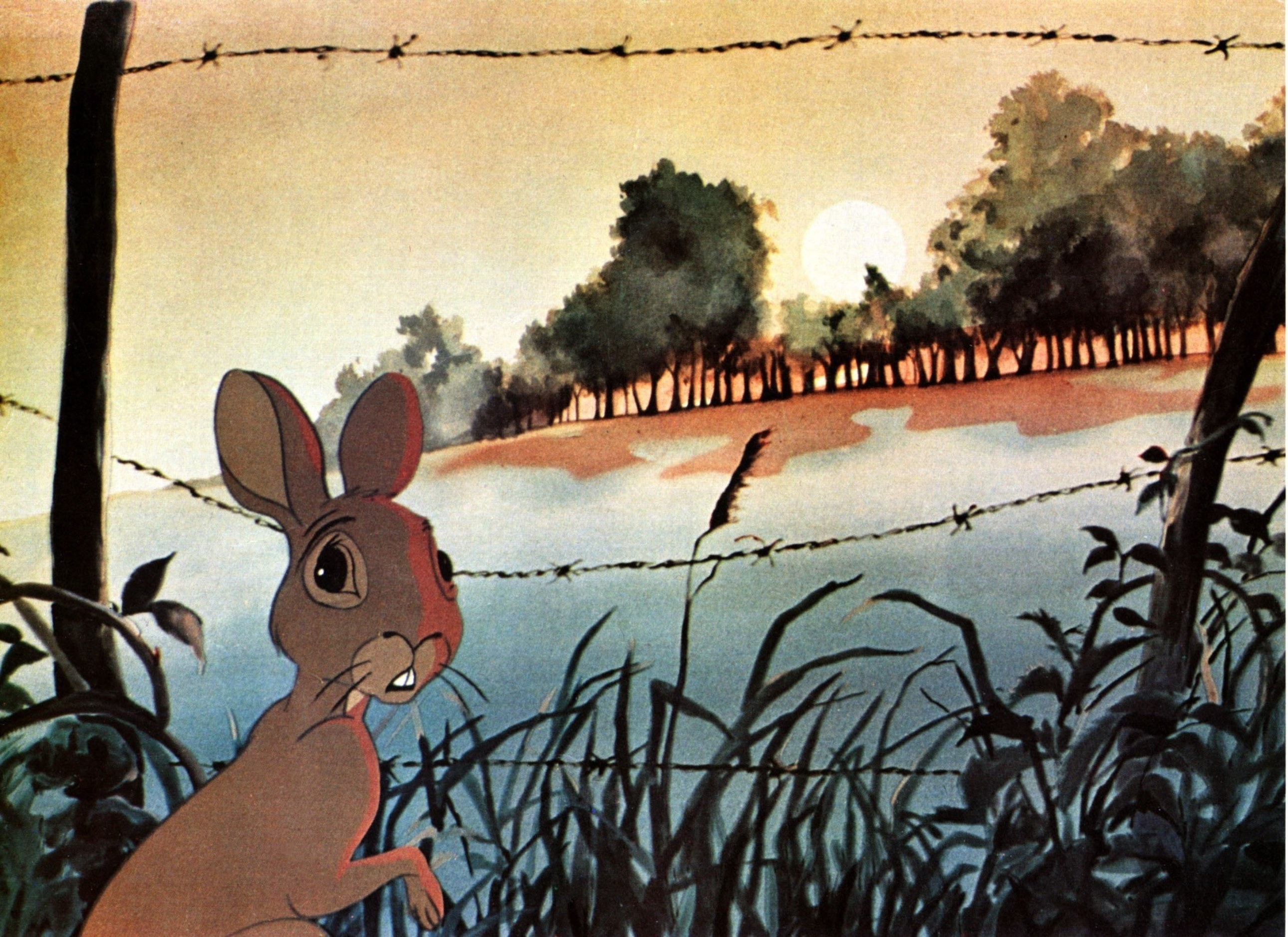 Fiver (voiced by Richard Briers) has a vision of a field of blood in Watership Down (1978)