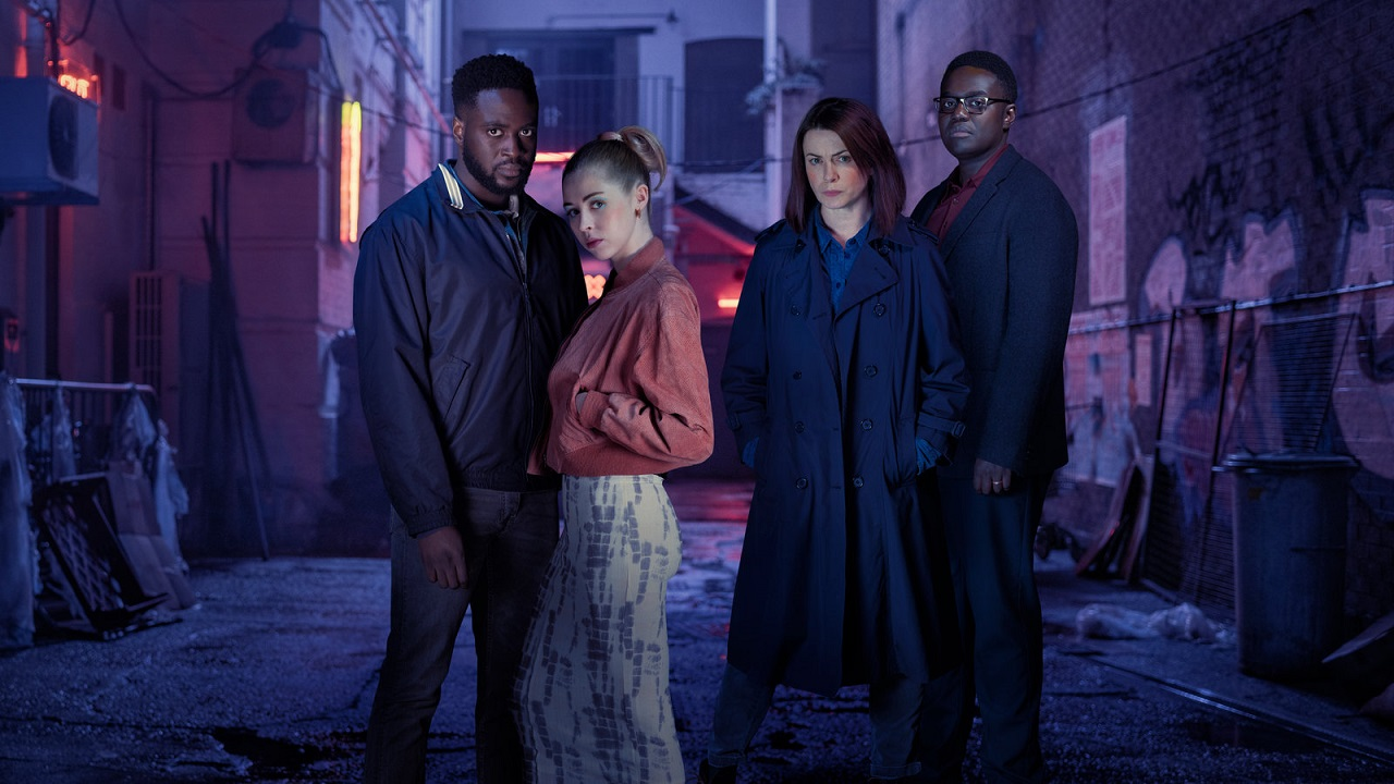 Dipo Ola, Hermione Corfield, Eve Myles and Babou Ceesay in We Hunt Together (2020)