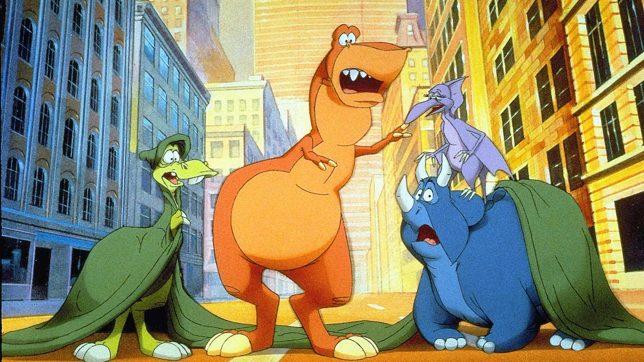 The dinosaurs - (l to r) Dweeb The Parasaurolophus (voiced by Charles Fleischer), Rex (voiced by John Goodman), Elsa The Pteranodon (voiced by Felicity Kendal) and Woog The Triceratops (voiced by Rene Le Vant) in We're Back! A Dinosaur's Story (1993)