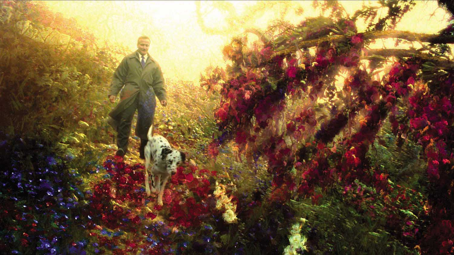 Robin Williams walks through the landscape of an oil painting come to life in What Dreams May Come (1998)