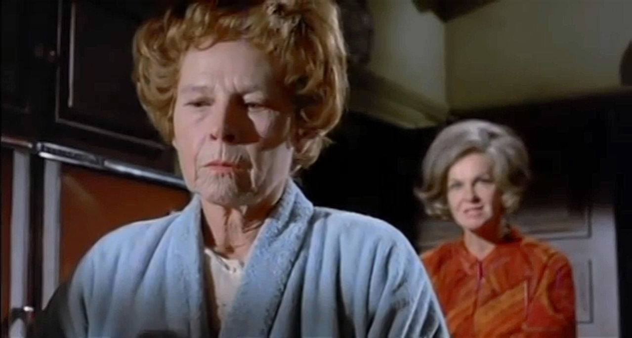Psychological games between (l to r) Ruth Gordon and Geraldine Page in What Ever Happened to Aunt Alice? (1969)