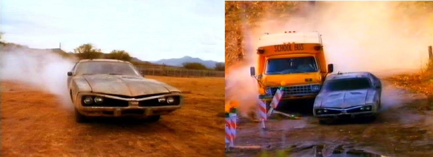 (left) The evil Dodge Challenger; (right) the pursuit by the school bus in Wheels of Terror (1990)