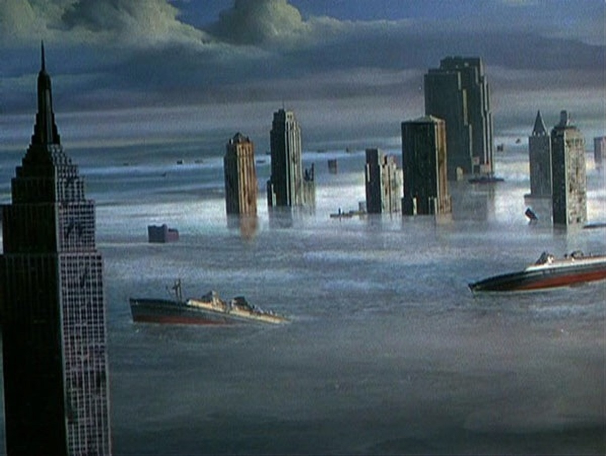 Overturned ships floating through drowned cities in When Worlds Collide (1951)