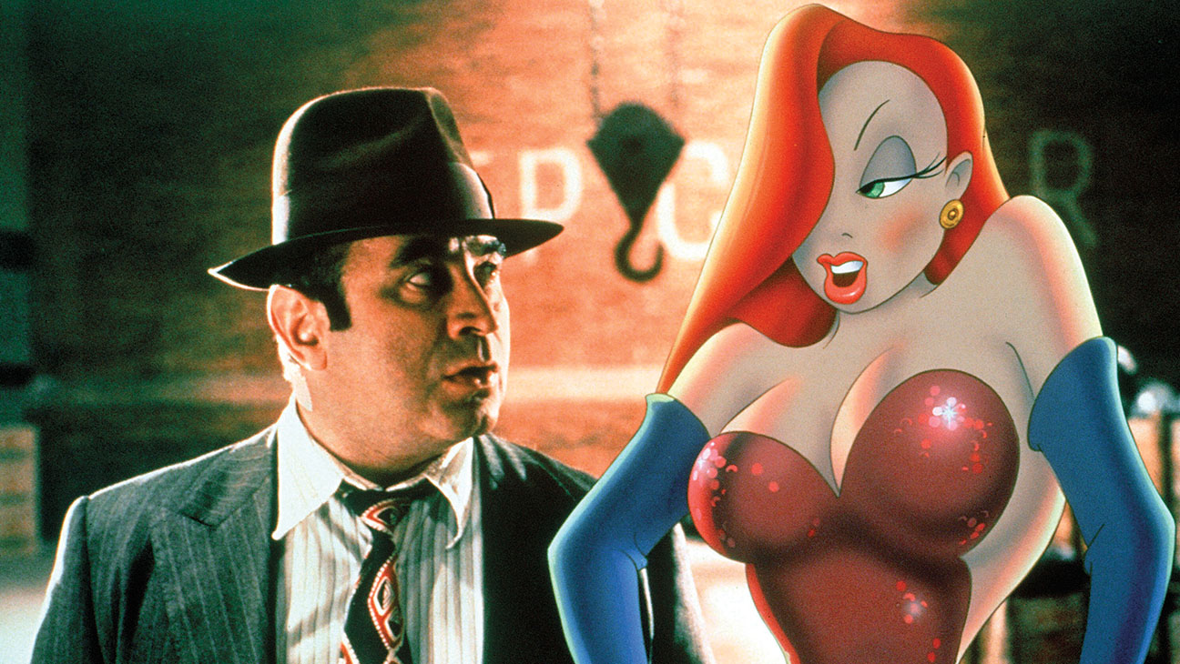 Eddie Valiant (Bob Hoskins) and Jessica Rabbit in Who Framed Roger Rabbit? (1988)