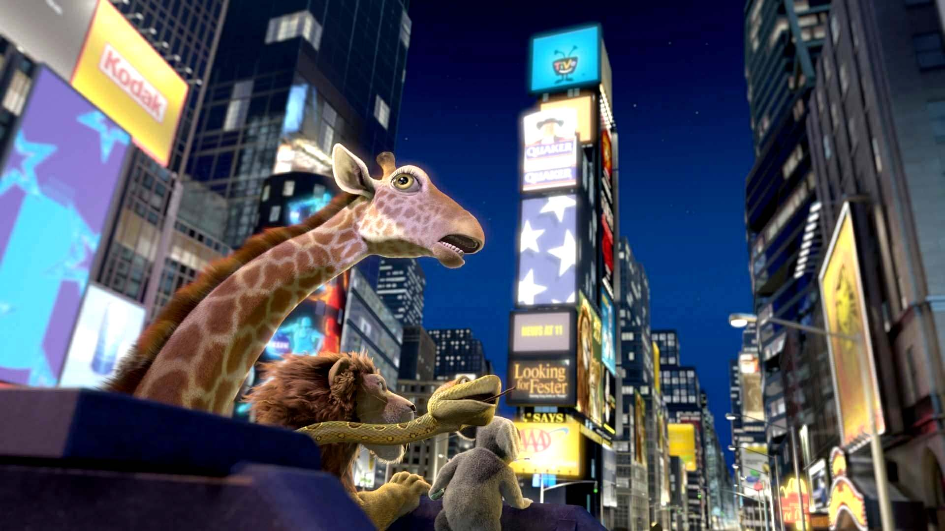 The animals escape into the streets of New York City in The Wild (2006)