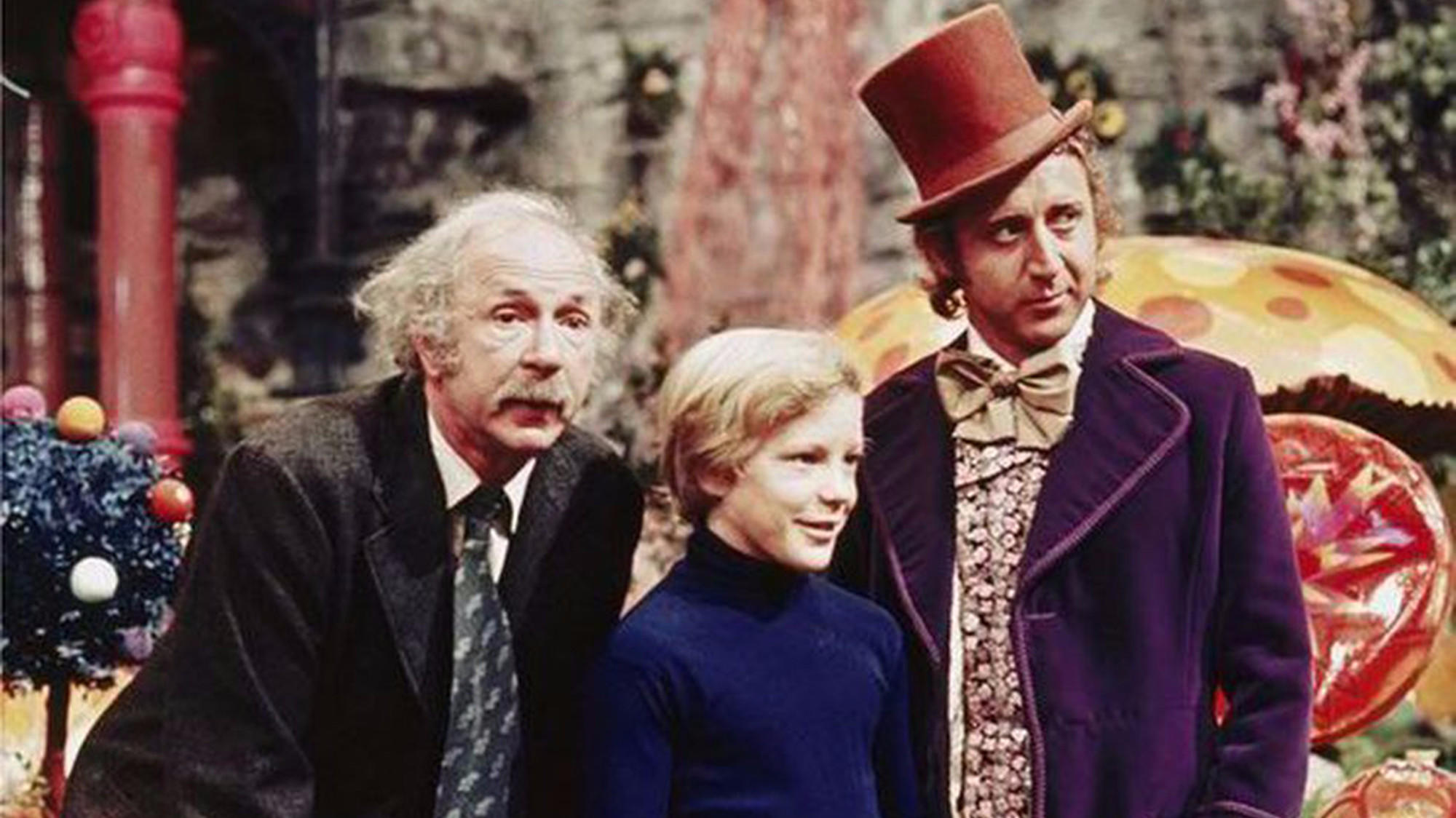 (l to r) Grampa Joe (Jack Albertson), Charlie (Peter Ostrum) and Willy Wonka (Gene Wilder) in Willy Wonka and the Chocolate Factory (1971)