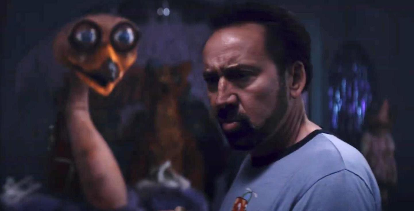 The Janitor (Nicolas Cage) and possessed animatronic robot in Willy's Wonderland (2021)