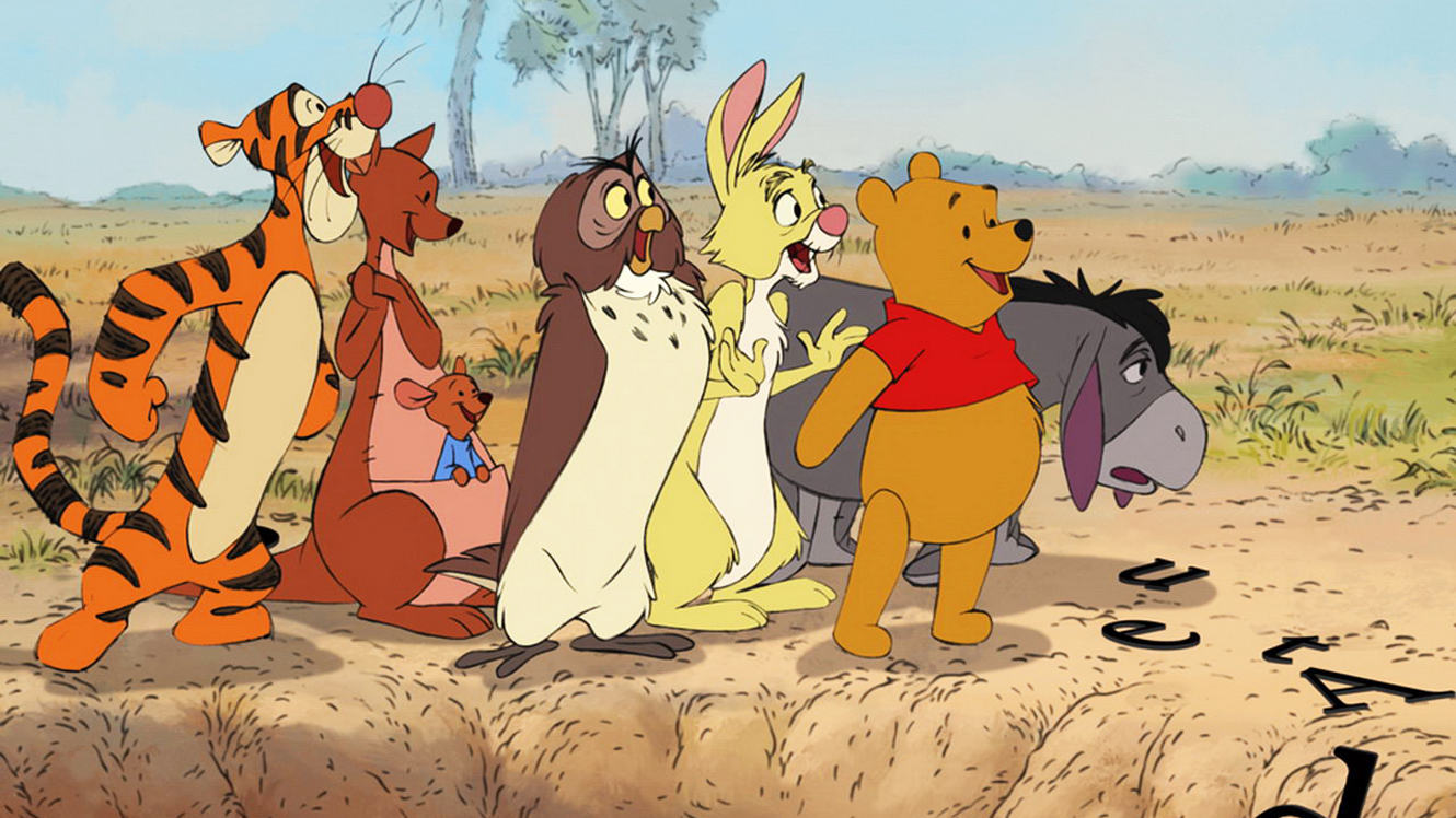 The animals of Hundred Acre Woods - Tigger, Kanga (with Roo in her pouch), Owl, Rabbit, Pooh and Eeyore in Winnie the Pooh (2011)