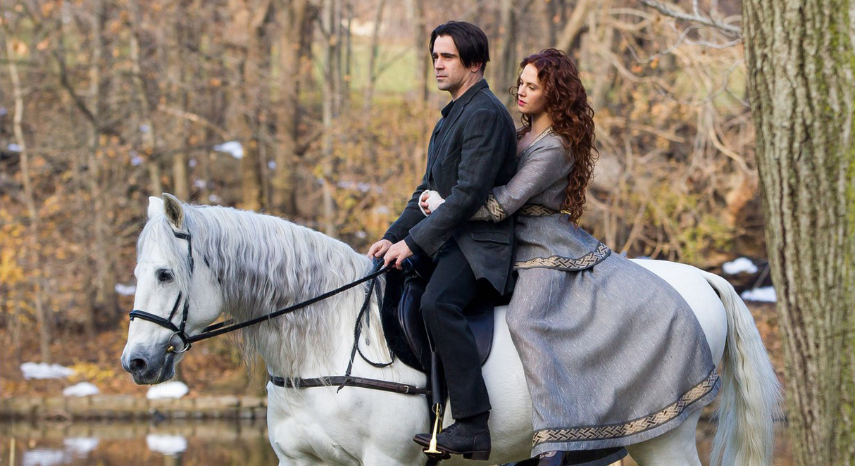 Peter Lake (Colin Farrell) with his love Beverly Penn (Jessica Brown Findlay) in Winter's Tale (2014)