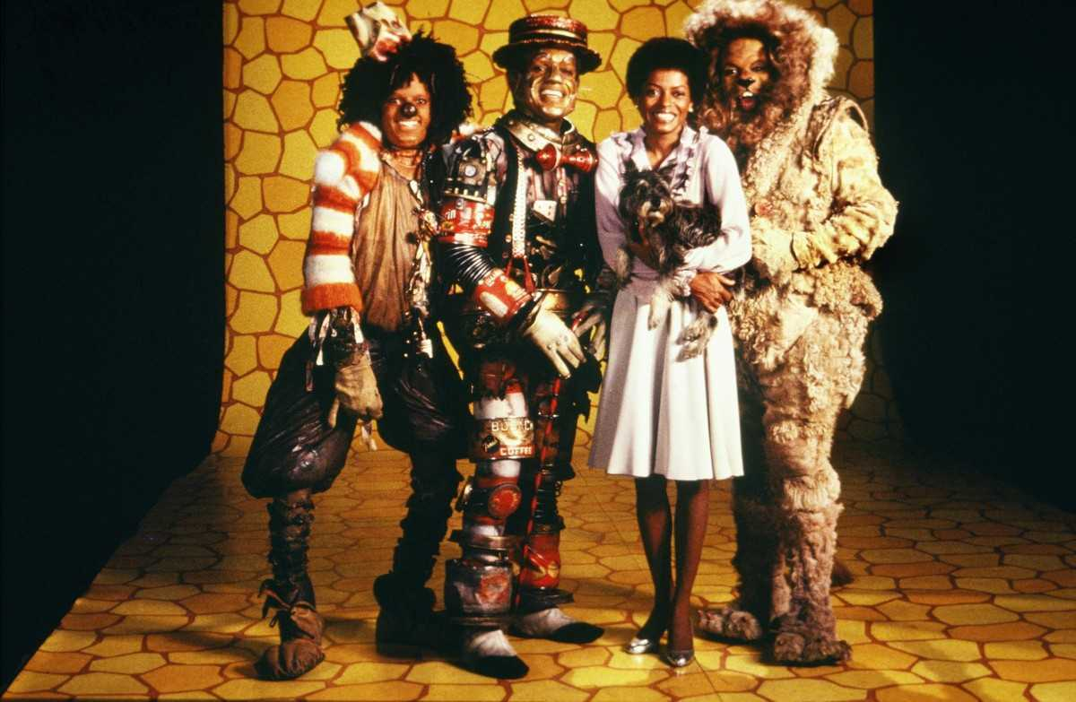 On a journey to find The Wiz - (l to r) The Scarecrow (Michael Jackson), The Tin Man (Nipsy Russell), Dorothy (Diana Ross) and the Lion (Ted Ross) in The Wiz (1978)