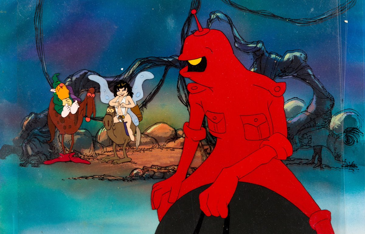 (l to r) the wizard Avatar (voiced by Bob Holt), the elf Elinore (voiced by Jesse Wells) and Peace/Magnus 99 (Voiced by David Proval) in Wizards (1977)