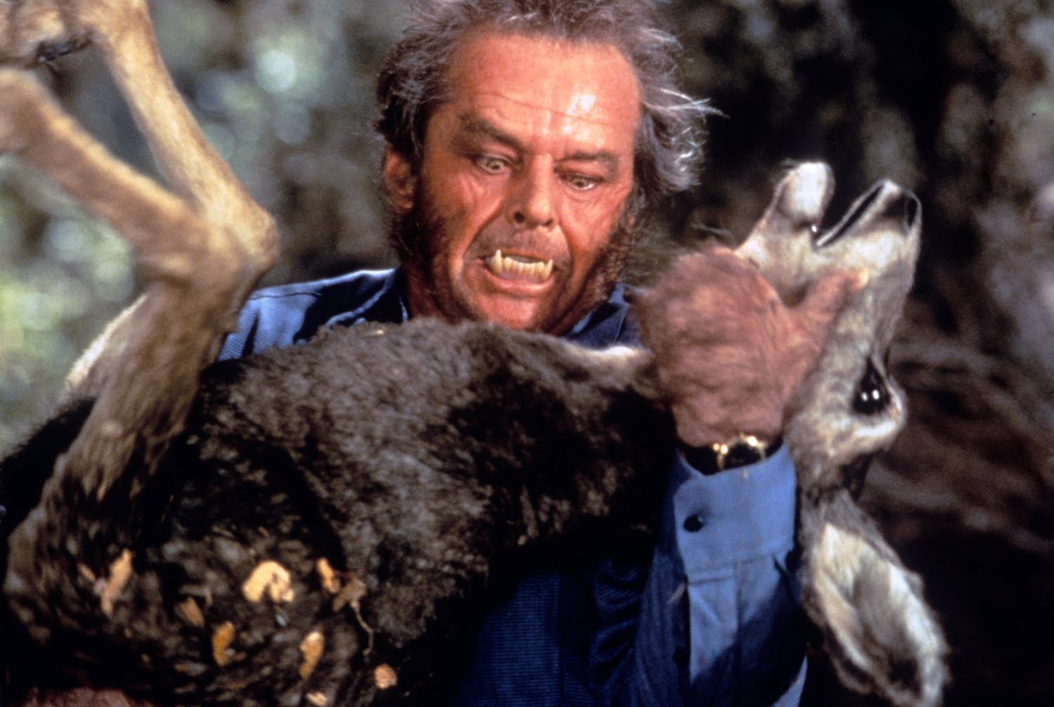 A lycanthropic Jack Nicholson tears out the throat of a deer in Wolf (1994)