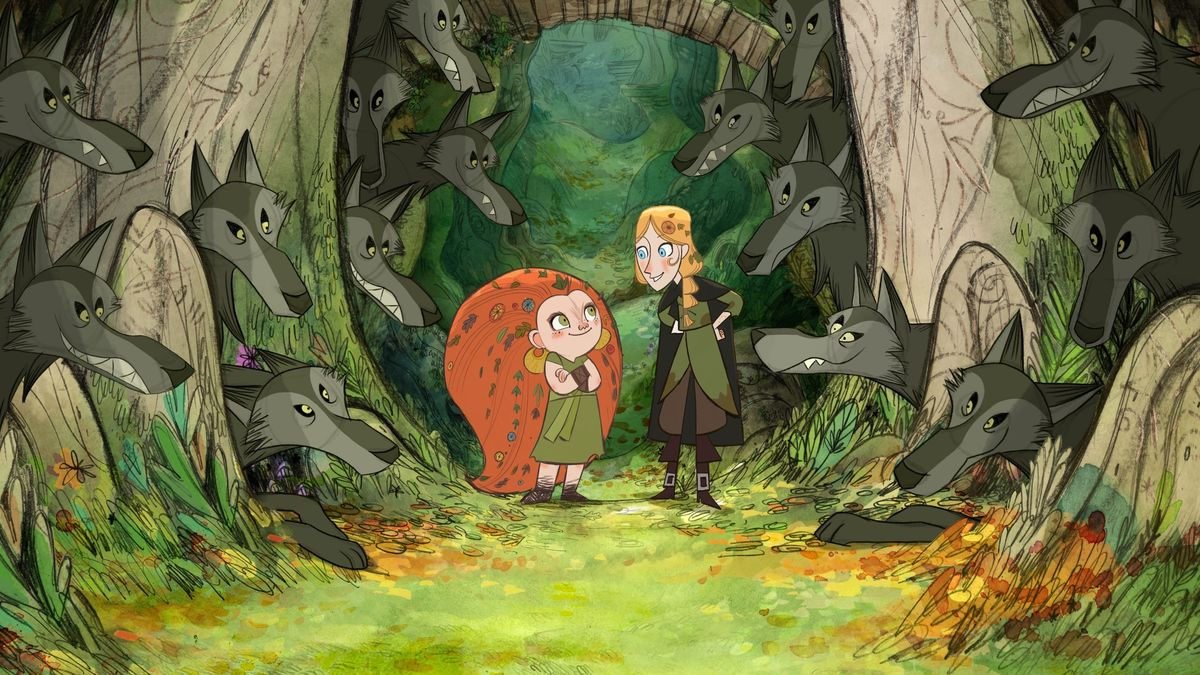 Mebh Og MacTire (voiced by Eva Whittaker), Robyn Goodfellow (voiced by Honor Kneafsey) and the wolves in WolfWalkers (2020)