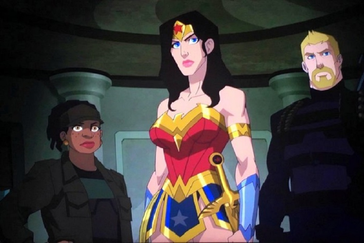 (l to r) Etta Candy (voiced by Adrienne Moore), Wonder Woman (voiced by Rosario Dawson) and Steve Trevor (voiced by Jeffrey Donovan) in Wonder Woman: Bloodlines (2019)