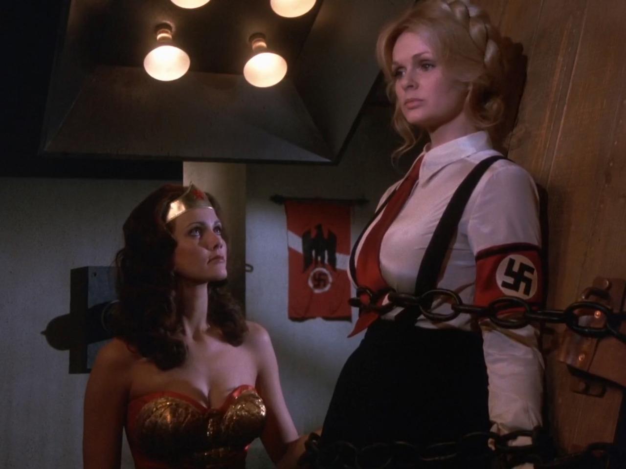 Wonder Woman (Lynda Carter) meets Fausta The Nazi Wonder Woman (Lynda Day George) in The New Original Wonder Woman (1977)