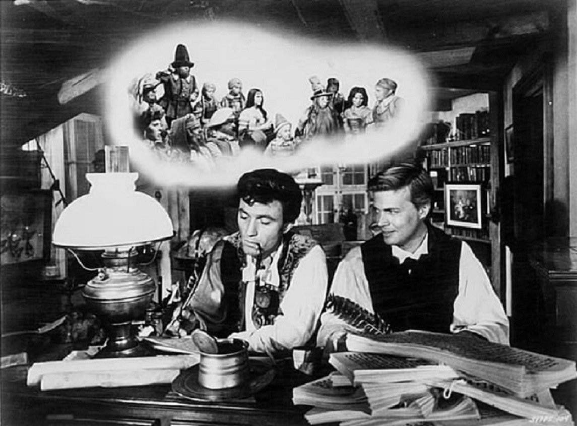 The Brothers Grimm - Wilhelm (Laurence Harvey) and Jacob (Karl Boehm) in The Wonderful World of the Brothers Grimm (1962)