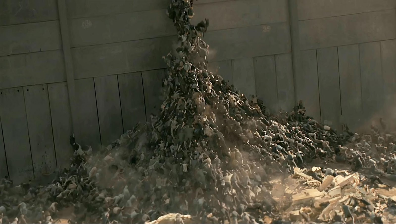 Zombies scales the walls of Jerusalem in World War Z (2013