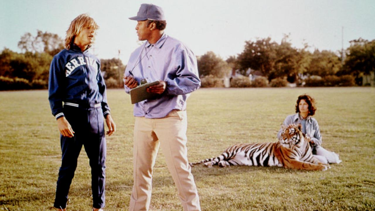 (l to r) Nanu the jungle boy (Jan-Michael Vincent), coach John Amos, Harry the Tiger and Dayle Haddon in The World's Greatest Athlete (1973)