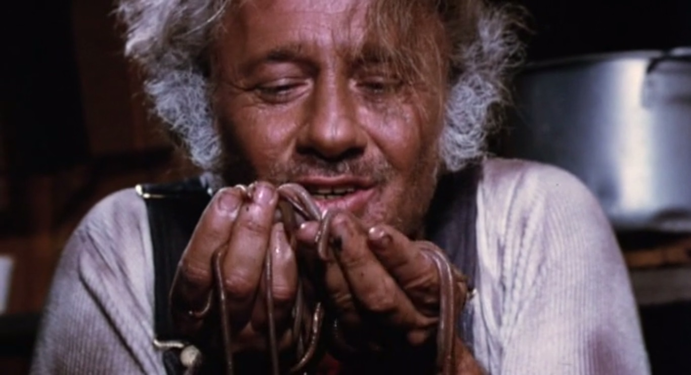 Herb Robins as Herman Umgar with his worms in The Worm Eaters (1977)