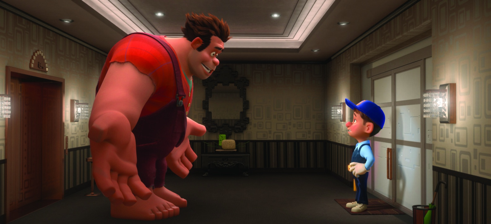 (l to r) Wreck-It Ralph (voiced by John C. Reilly) and Fix-It Felix (voiced by Jack McBrayer) in Wreck-It Ralph (2012)