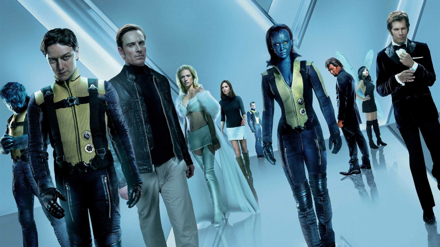 Beast (Nicholas Hoult), Professor Xavier (James McAvoy), Magneto (Michael Fassbender), Emma Frost (January Jones), Moira McTaggart (Rose Byrne), Havoc (Lucas Till), Mystique (Jennifer Lawrence), Azazel (Jason Flemyng), Angel Salvadore (Zoe Kravitz) and Klaus Schmidt (Kevin Bacon) in X: First Class (2011)