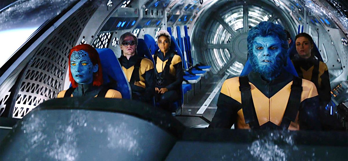 The X-Men space mission rescue mission - (l to r) Raven/Mystique (Jennifer Lawrence), Quicksilver (Evan Peters), Storm (Alexandra Shipp), Beast (Nicholas Hoult) and Jean Grey (Sophie Turner) in X-Men: Dark Phoenix (2019)