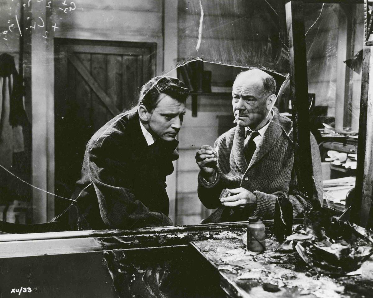 (l to r) Anthony Newley and Dean Jagger as Dr Adam Royston, the film's stand-in for Professor Quatermass in X the Unknown (1956)