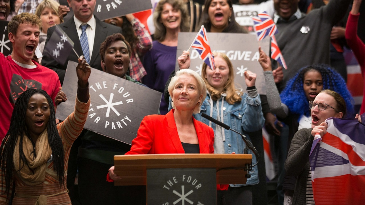 Emma Thompson as Vivienne Rook the populist politician who becomes Prime Minister in Years and Years (2019)