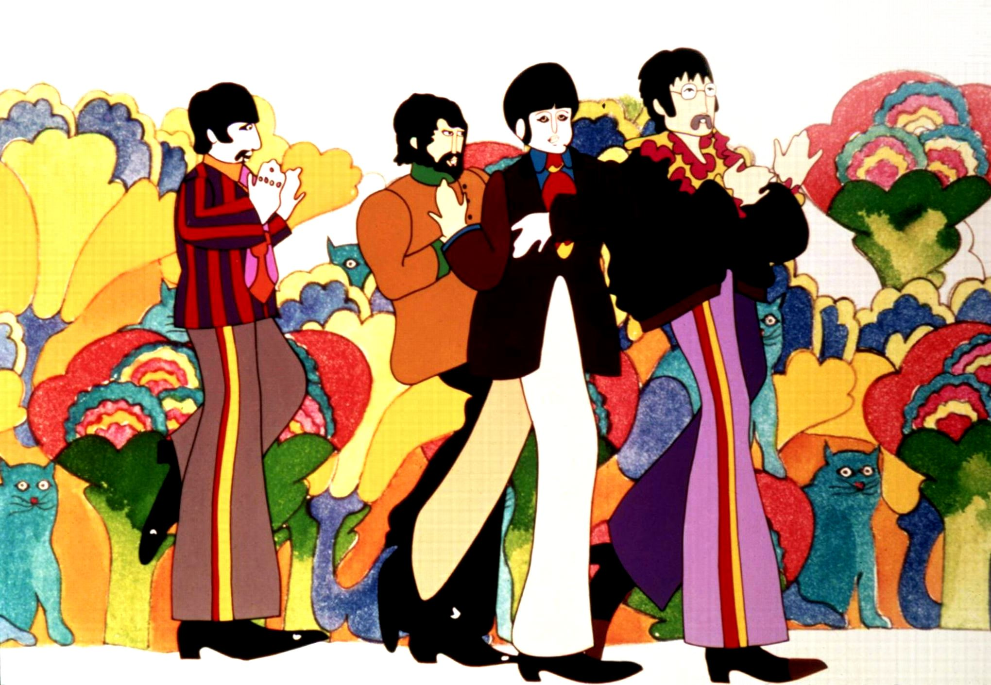 Animated likenesses of The Beatles in Pepperland in Yellow Submarine (1968)