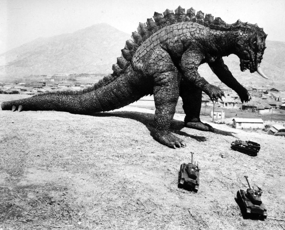 Yongary and plastic tanks in Yongary Monster from the Deep (1967)