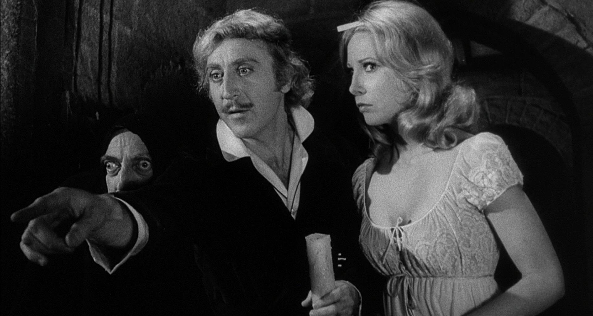 (l to r) Igor (Marty Feldman), Frederick Frankenstein (Gene Wilder) and Inga (Teri Garr) in Young Frankenstein (1974)