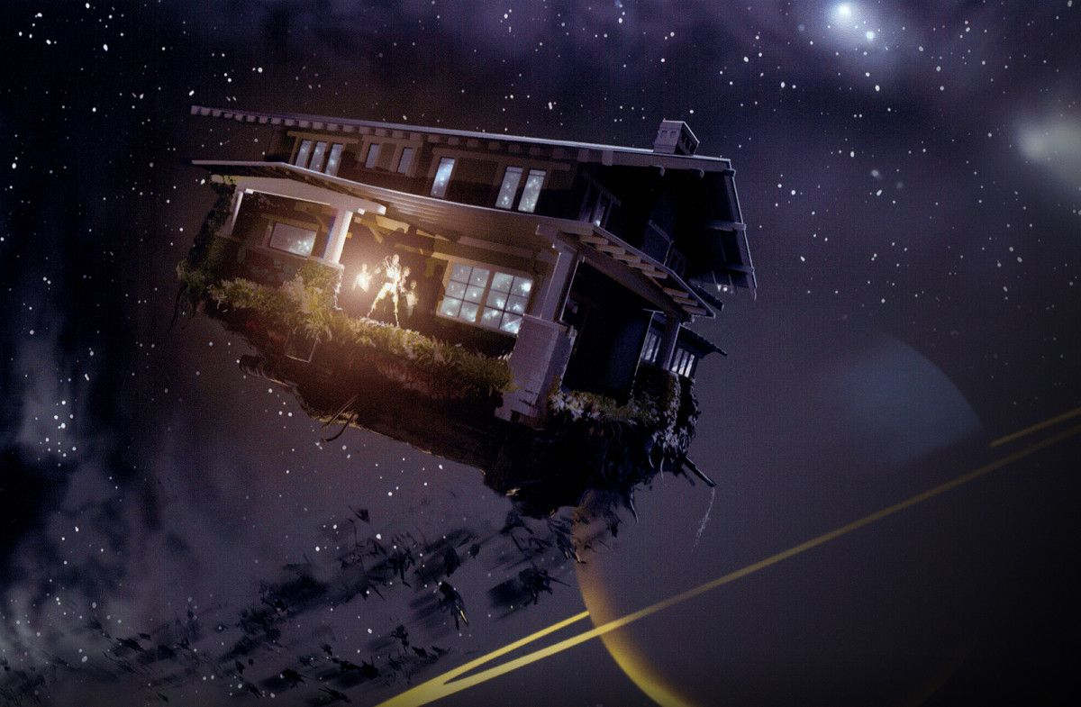 The house transported into space in Zathura: A Space Adventure (2005)