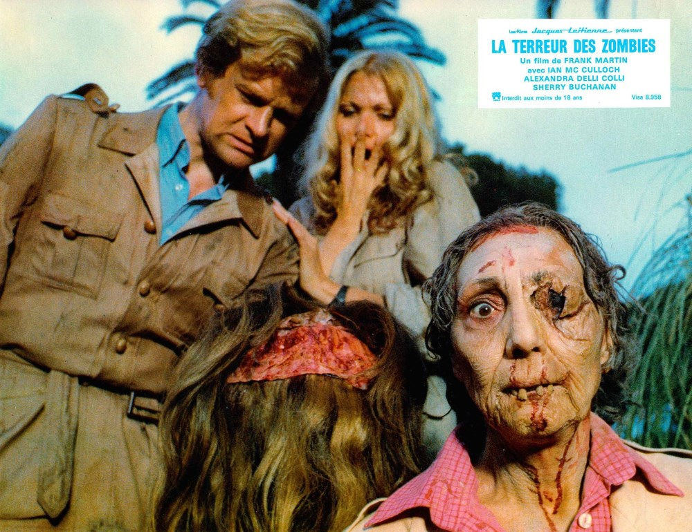 Ian McCulloch and Alexandra Delli Coll encounter zombiesi in Zombie Holocaust (1980)