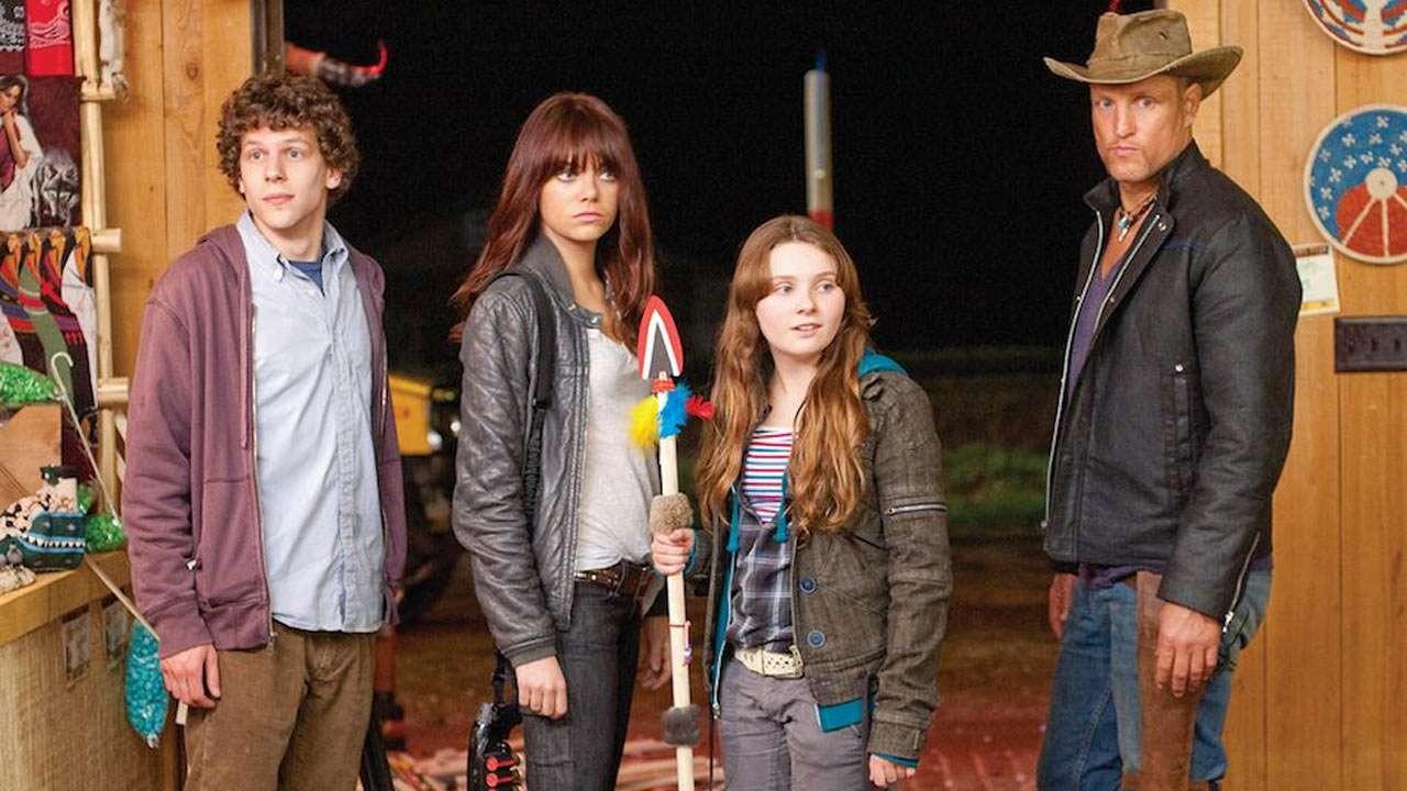 Character line-up - Woody Harrelson, Emma Stone, Abigail Breslin, Jesse Eisenberg in Zombieland (2009)